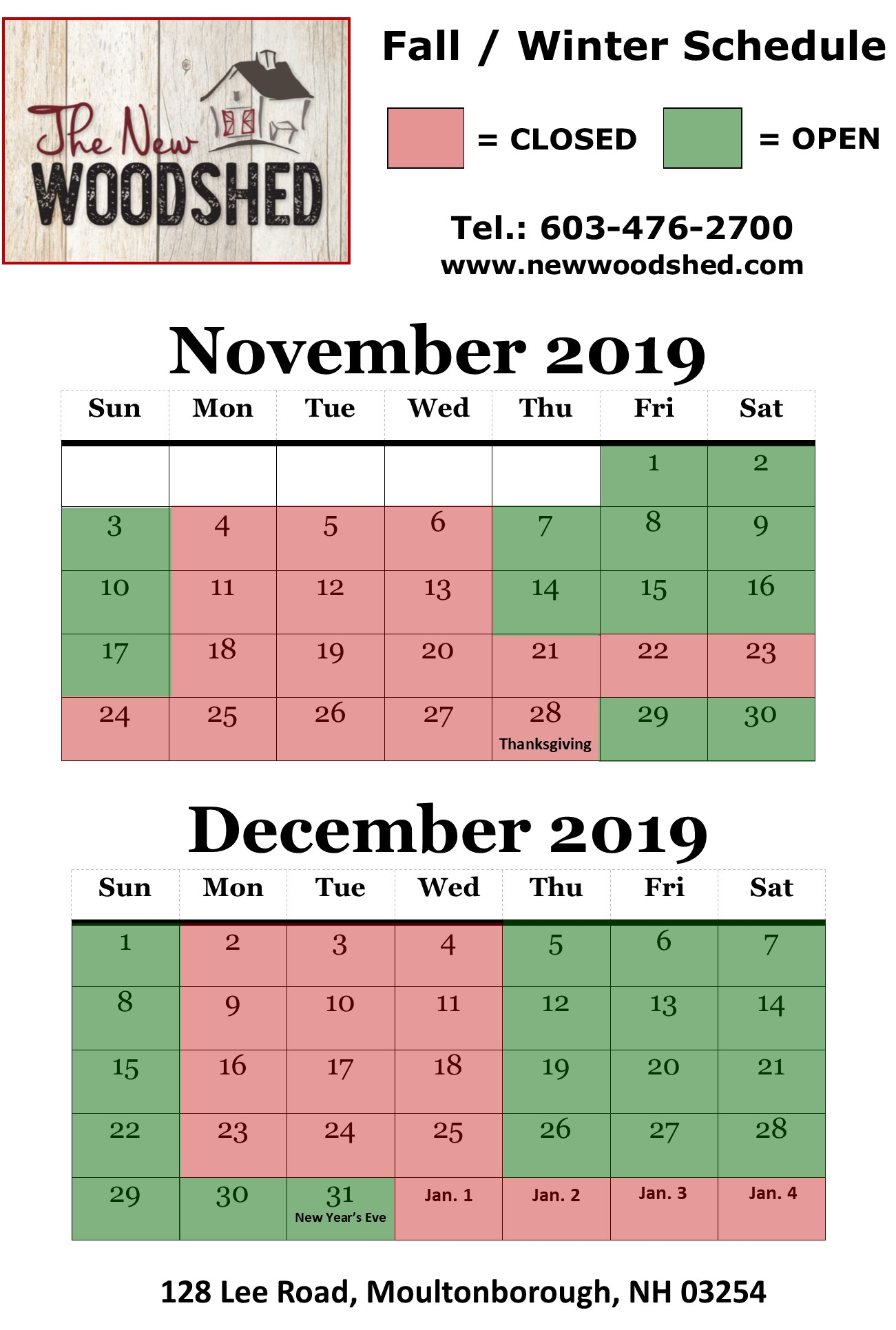 New Wood Shed Hours